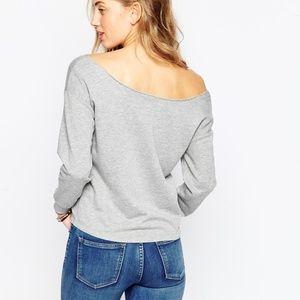 Off the cold shoulder gray sweatshirt